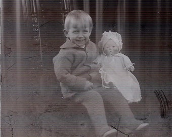 Lot Glass Negatives Slides Antique Photo Photography Adorable Baby With Doll