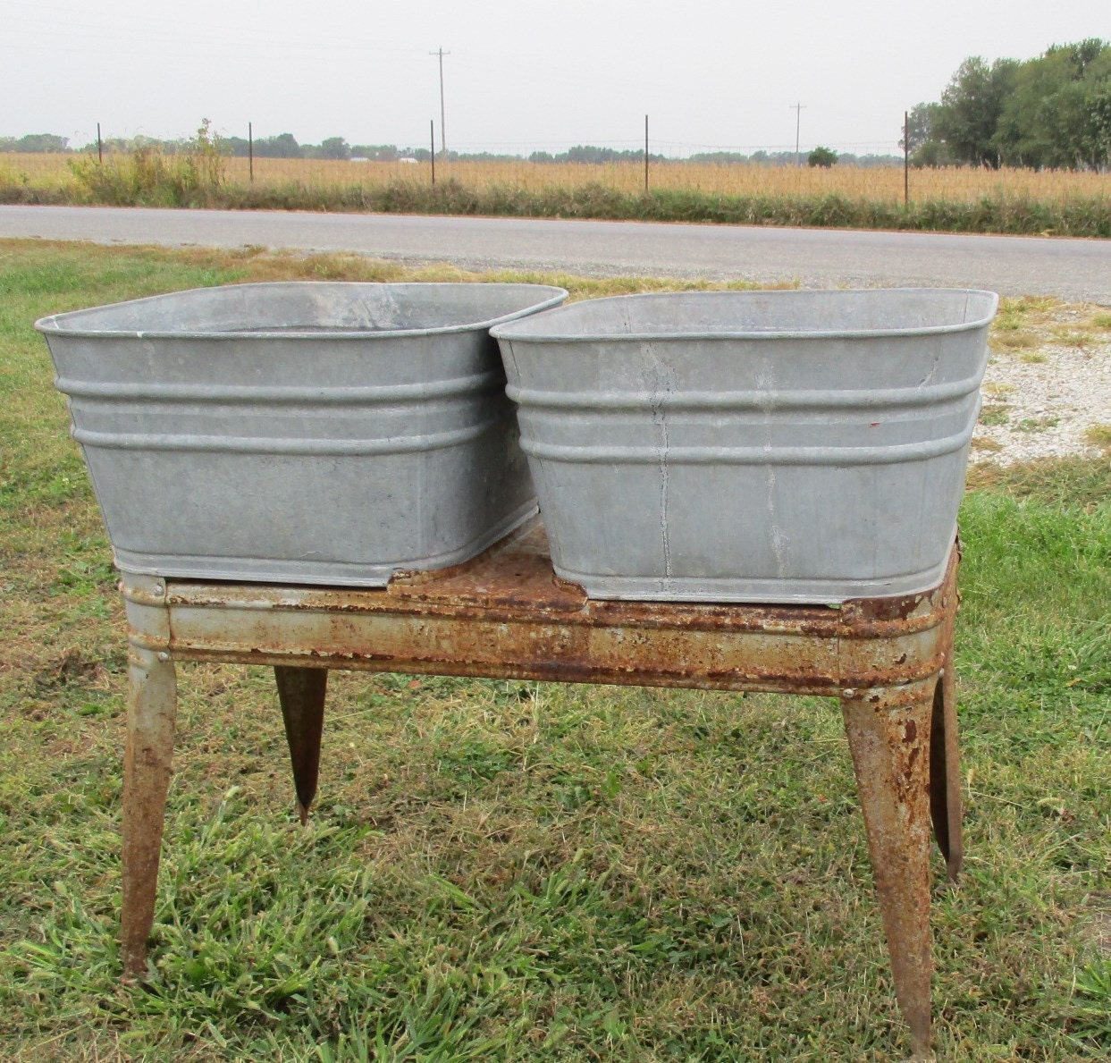 Double Wash Tub : Wheeling Galvanized Double Wash Tub Beer Cooler Flower Pot