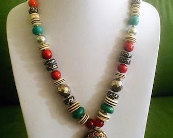 Hand made, Turquoise & coral tibetan beads pendant
