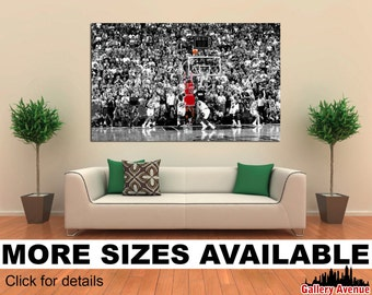 Wall Art Giclee Canvas Picture Print Gallery Wrap Ready to Hang - Michael Jordan Last Shot - Huge 60'' x 40'', 48'' x 32'' or 36''x24''