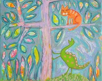 Cat & Dinosaur in Jungle Original Folk Art Painting