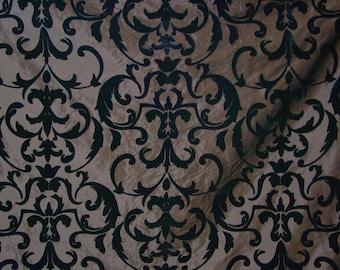 Dark chocolate brown silk fabric with baroque flocked velvet design by the metre