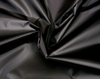 Black nylon ripstop fabric by the metre lightweight waterproof