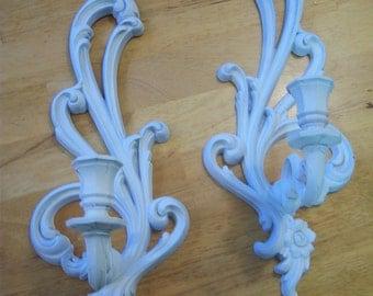 Ornate distressed candle holders/Syroco Inc candle holders/1970's candle holders/Shabby chic/Cottage chic/Victorian decor/Retro