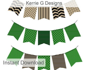 Digital Bunting Green and Beige Flags High res clip art Flag digital embellishments commercial and personal use digital elements