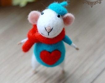 wool felt diy kit needle felt kit --- mice  style 91