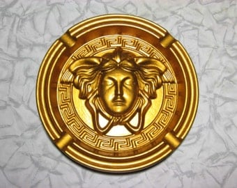 Medusa gold head men ashtray Gorgon madusa logo wooden roundel mask gargon collectible deco ash tray tables wood hand craft
