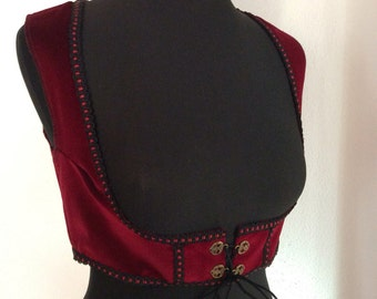 Red Velvet Tribal Vest, Size S-M, Tribal-Corsage, Tribal Costume, Turquish Vest