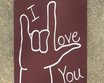 Sign language I love you painting
