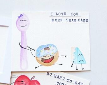 Original Art, Watercolor, Hand Painted Card, Pun, I love you, Love, Artwork, Watercolor, Card, OOAK, Dessert Art, Cake Art, Valentine's Day