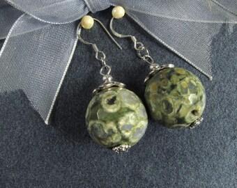 Earrings Rhyolite 18mm Facet Round Beads 925 ESRY2049
