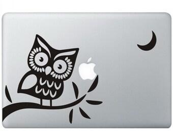 Owl On Branch apple macbook laptop decal sticker