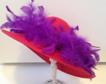 "Vintage styled Red Hat Society fancy hat. 15"" across. #633"