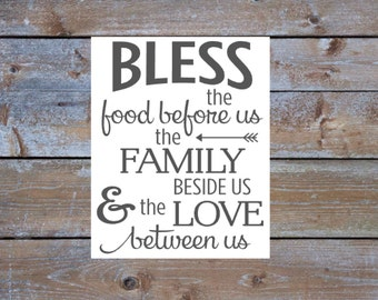 """Bless the Food Before Us Printable Sign White and Gray Instant Download 16x20"""" Kitchen Wall Decor Sign Dining Room Decor Sign Custom Colors"""