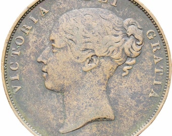 Great Britain Queen Victoria 1855 One Penny Copper Coin Plain Trident