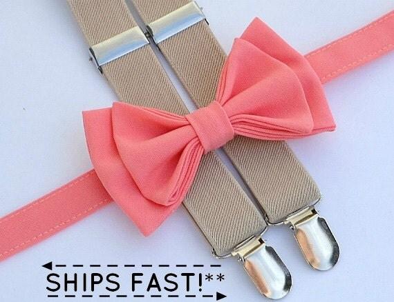 coral bow tie beige suspenders coral pocket square
