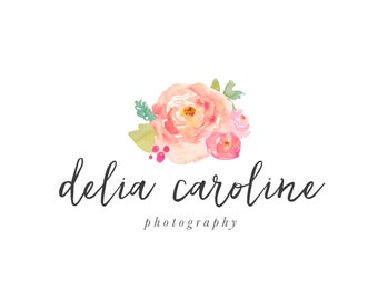 Premade Logo Design - Watercolor Flower Logo - Photography Logo - Small Business Logo - Handwritten Font
