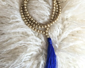 Gold and Royal Blue Tassel Necklace
