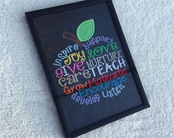 """Teacher Gift - """"I Teach"""" Apple - Multi-colored with Black Sparkle Background (includes 5x7 frame)"""