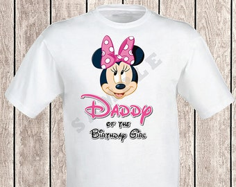 Minnie Mouse DADDY of the Birthday Girl DIGITAL Iron-On Transfer, Decal, tShirt Printable