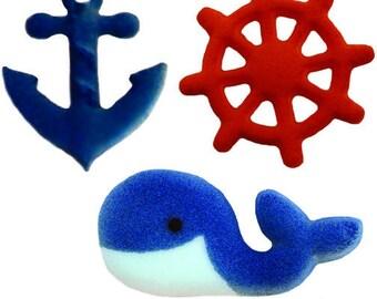 12 Nautical Pre-Made Ready To Use Edible Cupcake Sugar Decorations