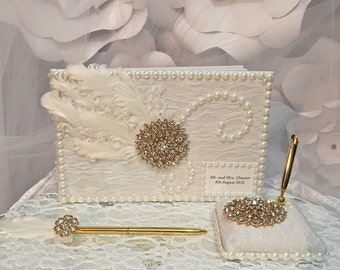 guest book/wedding guestbook set/ivory gold wedding theme/ivory and gold wedding/guest book set/feather guest book, Gatsby wedding