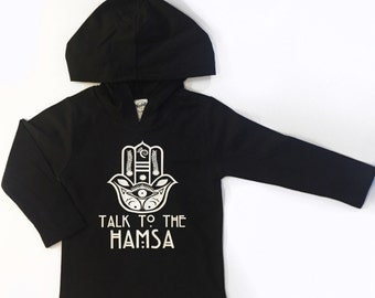Talk to the Hamsa design with a unique one of a kind design on a black light weight hooded tee