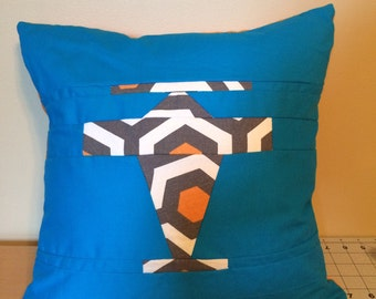 Airplane travel pillow -blue orange and grey