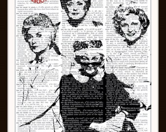 The Golden Girls--Silhouette--TV Sitcom- Custom Art Print--8.5x11