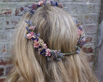 Midnight Haze Dried Flower Hair Crown