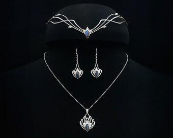 Sterling silver elvish Wedding set Argis with labradorites -Made to order- Elven Circlet Pendant Bridal headpiece Medieval Circlet Diadem