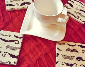 Moustache Handmade Ceramic Coasters - set of 4
