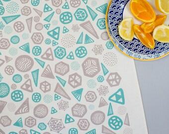 Geometric Tea Towel Turquoise/Grey