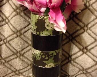 Camo and black flower vase