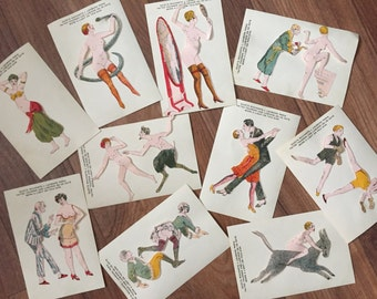 French saucy risqué vignettes of ladies in various states of undress hand coloured and mounted on paper.