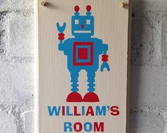 Wooden bedroom door sign. Boys bedroom decor, Personalised with name and robot. Name sign.