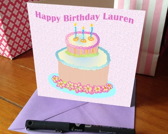 Personalised Card - Birthday Cake - GC001