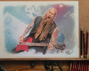 ORIGINAL - hand drawn charcoal pencil drawing - Chris Kael - FFDP - Size A3