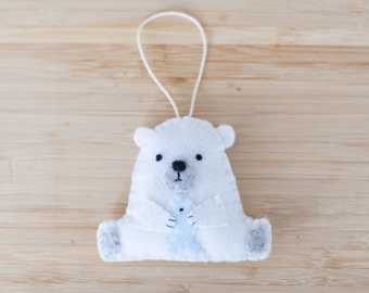 felt polar bear ornament, handmade bear ornament, decorative bear ornament, nursery decoration, home decor, baby gifts, holiday decoration
