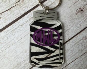 Zebra Mason Jar Keychain - Personalized Keychain ~ Monogram Keychain ~ Diaper Bag Tag ~ Zebra Print Keychain ~ Southern Girl Gifts