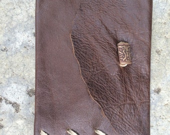 Chocolate brown leather wallet.