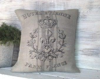 FRENCH BURLAP PILLOW, Grey Burlap,Decorating