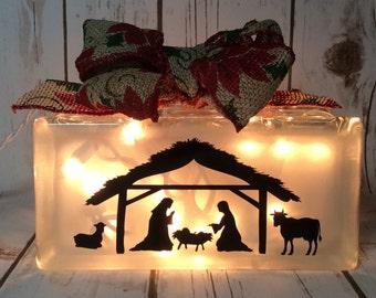 Nativity light block, Christmas lights, lighted glass block, glass blocks, glass lighted blocks, nativity set, glass block light, Christmas