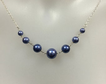 Blue pearl silver necklace