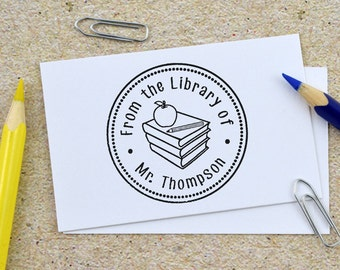 Custom From The Library Of Stamp, Teachers Stamp, Self Inking Stamp, Custom Teacher Rubber Stamp, Personalized Stamp, Teaching kids