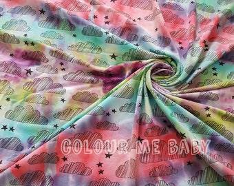 Random stripes hand dyed cotton jersey