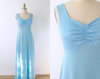 1970s Pale Blue Maxi Dress | small