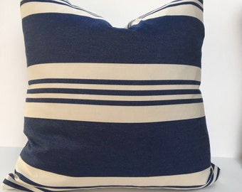 18 Inch Blue Stripe Pillow Covers set of 2
