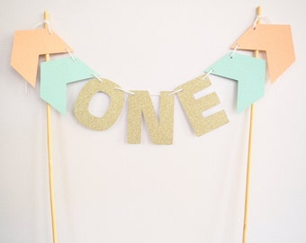READY TO SHIP! Personalised peach, teal and gold glitter cake bunting