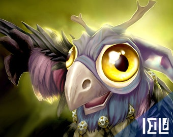 Cute Moonkin Hatchling World of Warcraft companion fanart photo print